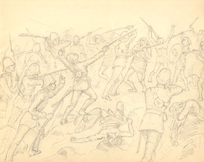 Harry B. Tansley - Late 19th Century Graphite Drawing, Battle Scene
