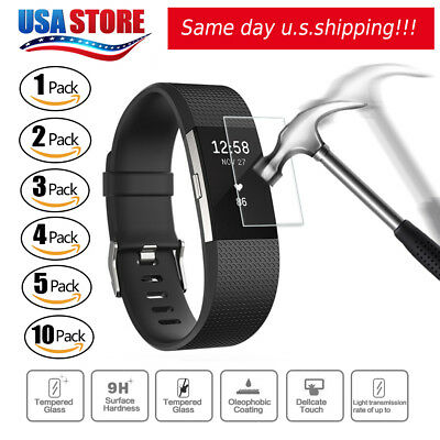 New Ultra Clear Tempered Glass Screen Protector For Fitbit Charge 2 Watch USA