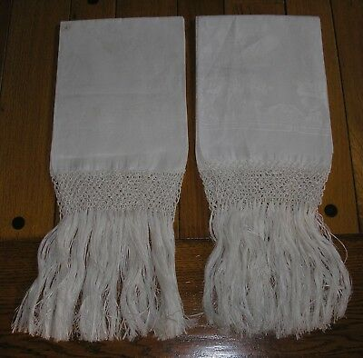 Pair Antique Italian Linen Damask Rose Floral Fringed Show Towels, Unused