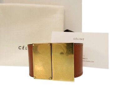 AUTHENTIC CELINE Blur Scrapes ClassicBangle Brown Leather/Metal  0082