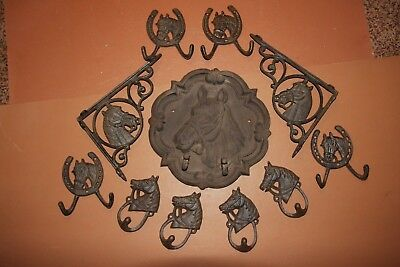 (11), Rustic Ranch Style Horse Home Decor, Cast Iron, Rustic Horse Plaque, Heavy