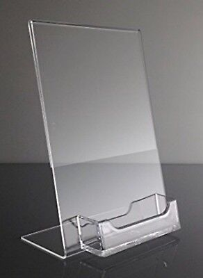 """(1) 5"""" x 7"""" Acrylic Sign Display / Picture Frame with Business Card Holder"""