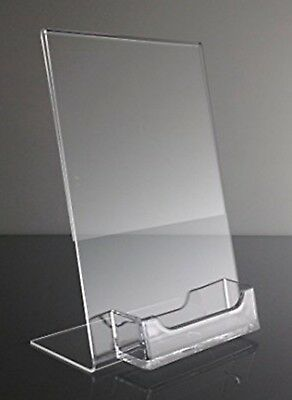 """(4 ) 5"""" x 7"""" Acrylic Sign Display / Picture Frame with Business Card Holder"""