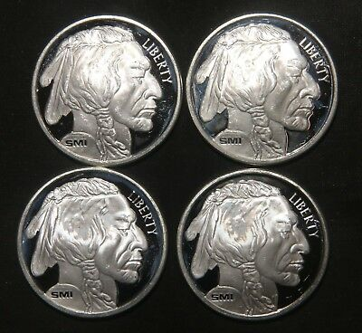 Four (4) Indian Buffalo Silver Rounds 1 Troy Oz .999 Pure  Lot 231101