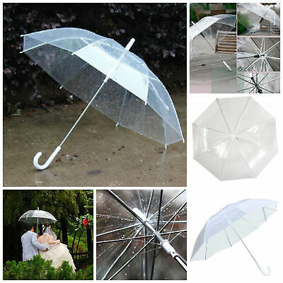 Long Transparent Clear Rain Umbrella Parasol PVC Dome for Wedding Party Favor