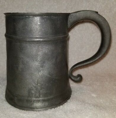 FRANCIS BASSETT AMERICAN PEWTER TANKARD AUTHENTIC REPRODUCTION 18th C.  *RARE*