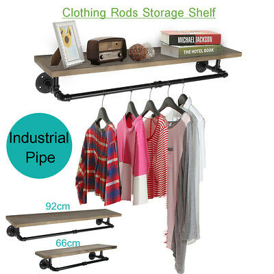 Industrial Pipe Clothes Towel Shelf Rack Wood Shelves Holder Wall-mounted Hanger