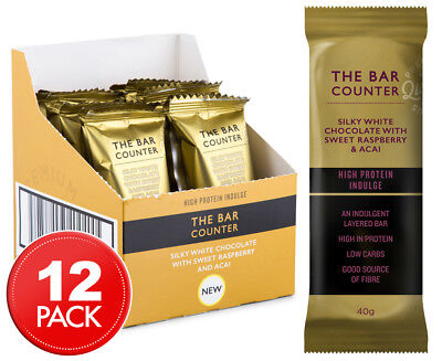 12 x The Bar Counter High Protein Indulge Silky White Chocolate, Sweet Raspberry