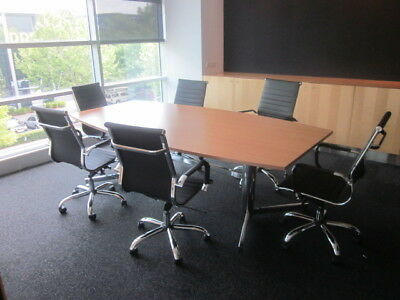 BOARD ROOM TABLE 2400mm PLUS 6 x HIGH BACK CHAIRS(not chairs in 1st pic)