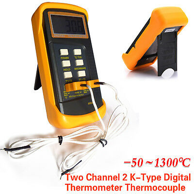 Digital LCD Thermometer Probe 2 K-Type Thermocouple Sensor Dual Channel 1300°C