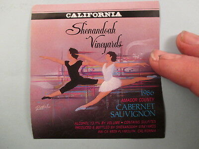Shenandoah Vineyards 1986 Cabernet Sauvignon Wine Label 1Aa1