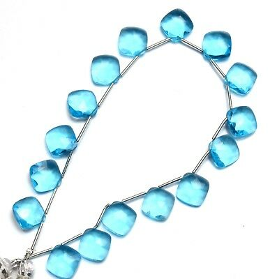 "Blue Topaz Gem Color Quartz 11MM Approx. Faceted Cushion Shape Beads 8"" Strand"
