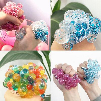 Clear Glitter Squishy Mesh Grape Ball Squeeze Toys Anti-Stress Kids Adult Gift