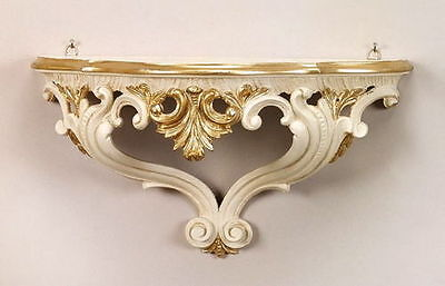 Baroque Wall Bracket Mirror Console 38x20x16 Antique Wall Shelf White-Gold Cp67