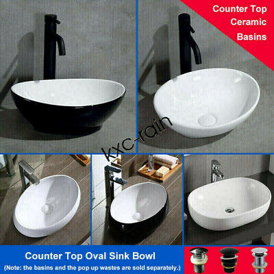 Ceramic Wash Basin Bathroom Vanity Counter Top Glossy Porcelain Oval Sink Bowl
