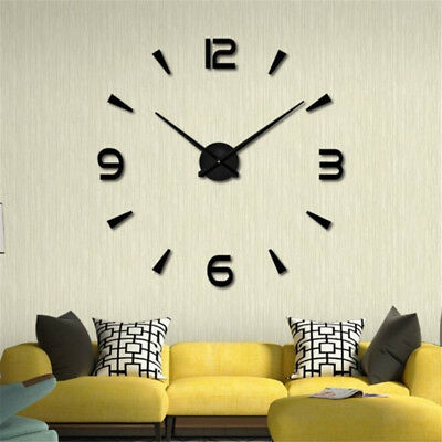Modern Large 3D DIY Mirror Surface Art Wall Clock Sticker Home Office Room Deco