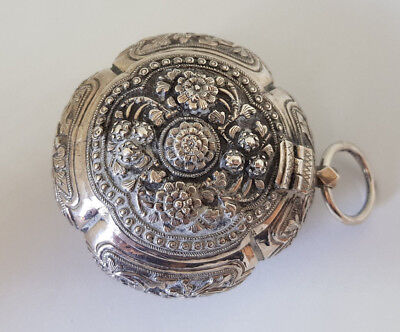 Antique 1900C Outstanding Burmese Solid Silver Betel Box 64.6G