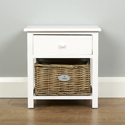 Roost Small White Wooden Two Drawer Bedroom Nightstand Bedside Lamp Table Unit