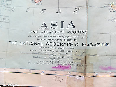 """Vintage 1933 National Geographic Map - Asia and Adjacent Regions - 31"""" x 38"""""""