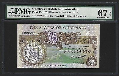 1980 -89 Guernsey 5 Pounds, PMG 67 EPQ GEM UNC, F000064 Low S/N, P-49a Bull RARE