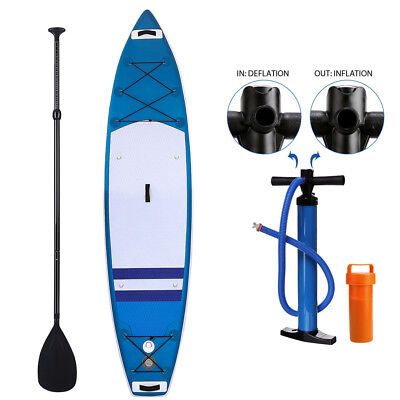 11' Inflatable Stand Up Paddle Double-layer Board SUP Fin Adjustable Paddle