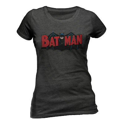 Official DC Comics Batman Authentic Logo t-shirt Ladies Fitted Dark Heather XXL