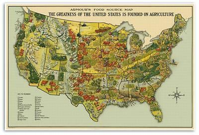 Armour's United States USA Food Source MAP circa 1922 Cattle Agriculture 24x36