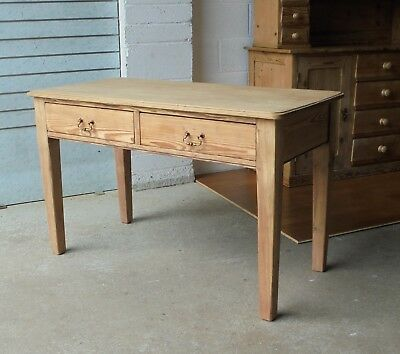 Lovely Antique Pitch Pine & Oak Teachers School Writing Desk Table With Drawers