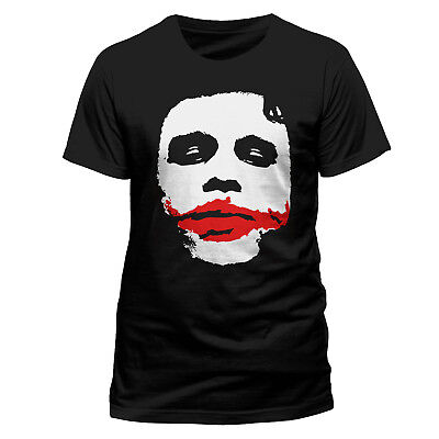 Official DC Comics Joker Big Face T-shirt Heath Ledger NEW Black S L XXL Batman