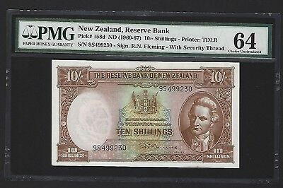 1967 New Zealand 10 Shillings, Choice UNC PMG 64, P-158d, Scarce Now