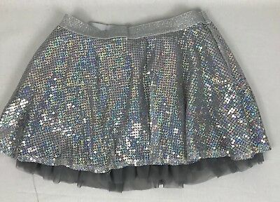 Justice Girl's Skirt Silver Sparkle Tulle Layer Size 16 Attached Shorts EUC