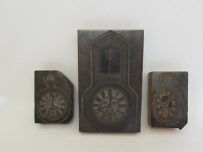 Rare Antique 3 Wooden Hand Carved Printing Block 1900C.