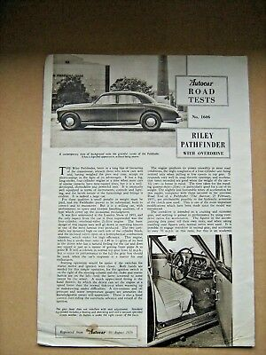 Vintage Autocar Road Test Of The Riley Pathfinder From The E/c Motor Show 1956