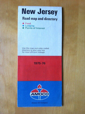 AMOCO Oil company 1975-76 New Jersey Road Map and Directory
