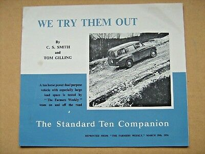 Vintage Standard Ten Companion   Car,brochure  From The 1956 London Car Show