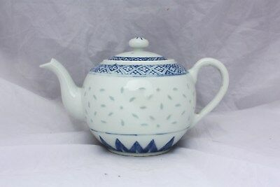 Early 20th Century Chinese Blue and White Rice Grain Pattern Teapot