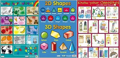 Colours + 2D/3D Shapes + Opposites PosterS   - 3 Posters - Large A2 Size