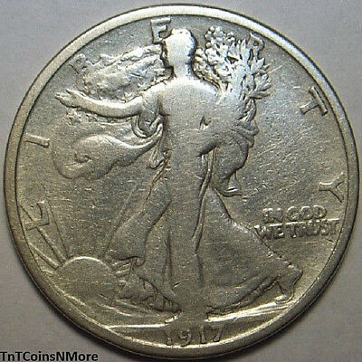 1917-P 50c Walking Liberty Half Dollar 90% Silver US Coin Collectible Circulated