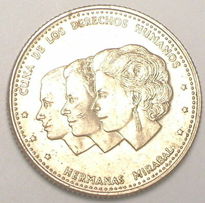 1986 Dominican Republic 25 Centavos Mirabel Sisters Arms Coin VF+