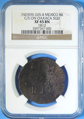 Morelos Mexico KM-265.4 8 Reales C/S on 1812 Oaxaca Sud NGC XF45 Counterstamp