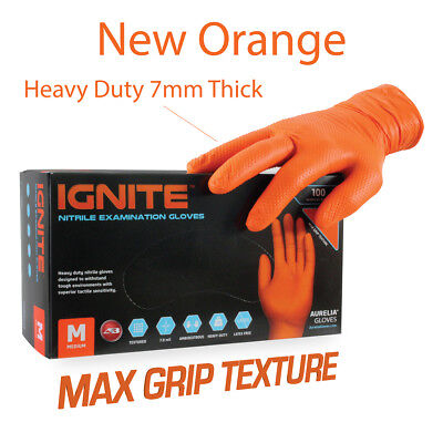 Aurelia IGNITE Orange Gloves Nitrile Powder Free Heavy Duty Premium 7mm Thick
