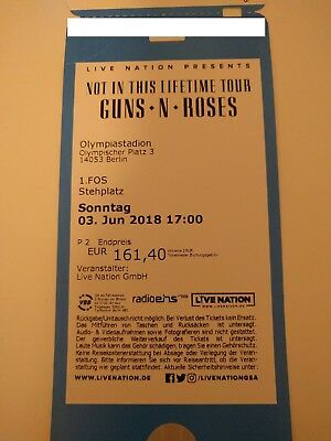 1 Ticket Guns n' Roses Berlin 3.6.18 Front of Stage 1 FOS Olympiastadion