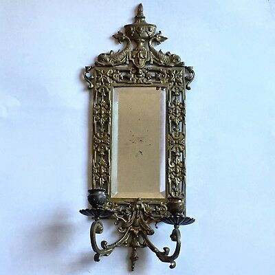 Antique Cast Brass Candle Sconce Beveled Mirror Wall Fish Gothic Bradley Hubbard