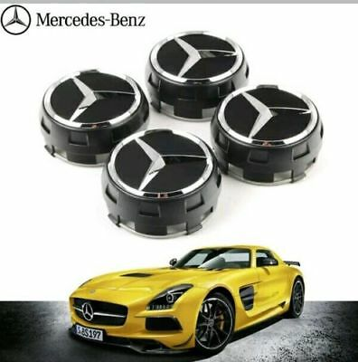 New MERCEDES AMG ALLOY WHEEL HUB CENTRE CAPS - BLACK 75MM A B C E S ML CLASS