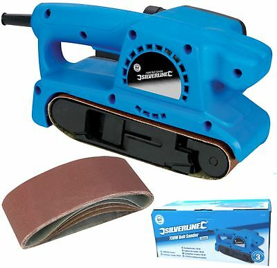 Silverline Electric Belt Sander Sanding Machine Power Tool + 6 Sanding Belts