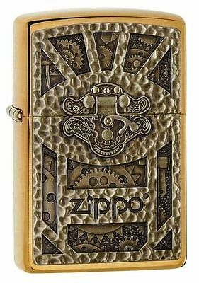 Zippo Gear Design Pocket Lighter, Brushed Brass …29103