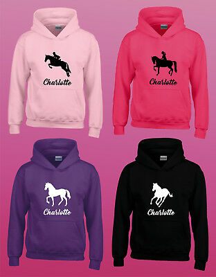 Personalised Hoodie - Horse Riding - Any Name - Girls Female Hoody - 4 Designs