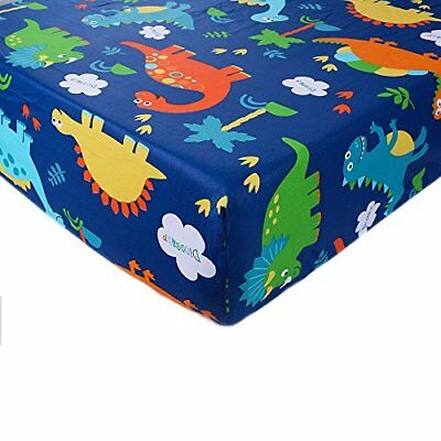 Crib Sheet Toddler 1 Pack 100% Cotton for Baby boy Dinosaur pattern by UOMNY