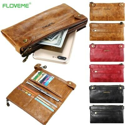 Universal Genuine Real Leather Double Zipper Pocket Wallet Card Phone Case Cover