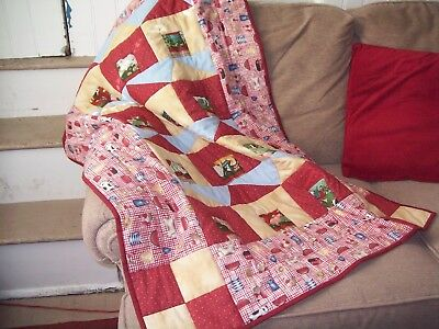 NEW Homemade Baby or Toddler Quilt Farm Animals in Barns